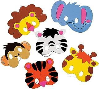 Fun Express Zoo Animal Mask Craft Kit (Makes 12) Lion, Monkey, Elephant, Zebra and More