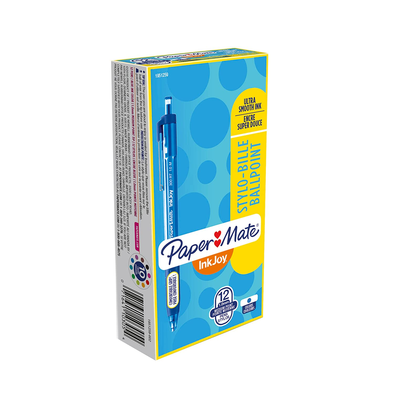 Paper Mate InkJoy 300RT Retractable Ballpoint Pens, Medium Point, Blue, Box of 12 (1951259)