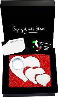 3 Corazones 3 Generaciones Candelabro de candelita de piedra - Incluye Caja de regalo, vela y tarjeta de mensaje en blanco...