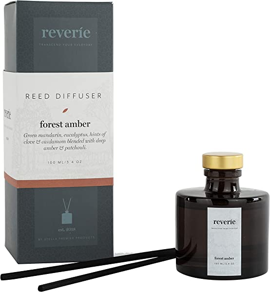 Reverie Reed Diffuser Fragrances Essential Oil Aromatherapy Home Set Forest Amber 100ml 3 4oz
