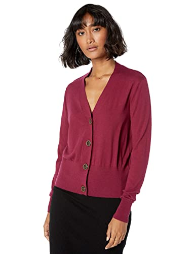 The Drop Women's Daniela Boxy V-Neck Fine Jersey Cardigan Sweater