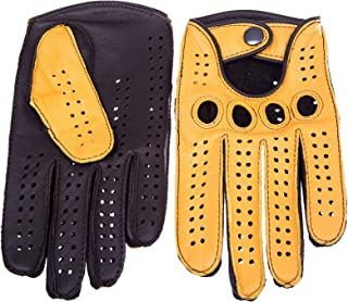c1a44d21acdd3 Men's Driving Gloves Deerskin Dark Brown Yellow By Hungant (7.5, Yellow)
