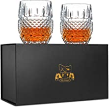 Unique Whiskey Glasses Set of 2. Ultra Clarity Glass Rocks Tumblers (10oz). 'Crystal Cask' by Van Daemon for Whisky, Liquo...