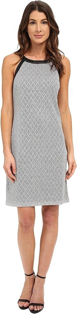 Sleeveless Disco Diamond Printed Shift Dress
