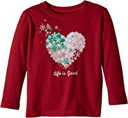 Life is Good Kids - Snowflake Heart Long Sleeve Crusher Tee (Toddler)