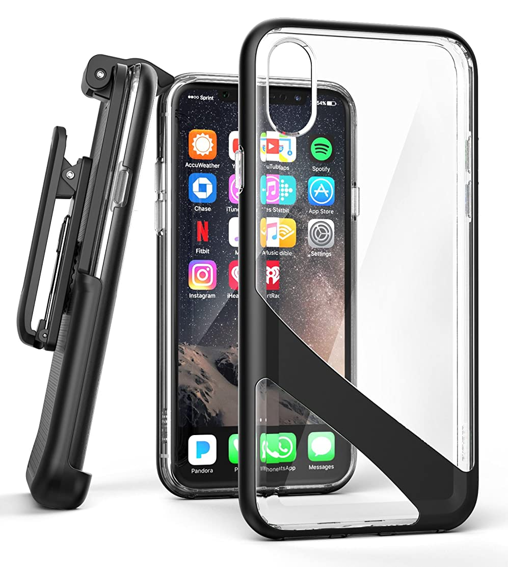 Encased iPhone X/iPhone Xs Belt Clip Case [Reveal Series] Premium Clear Back Cover with Holster Clip for Apple iPhoneX (2017 Release) Crystal Black