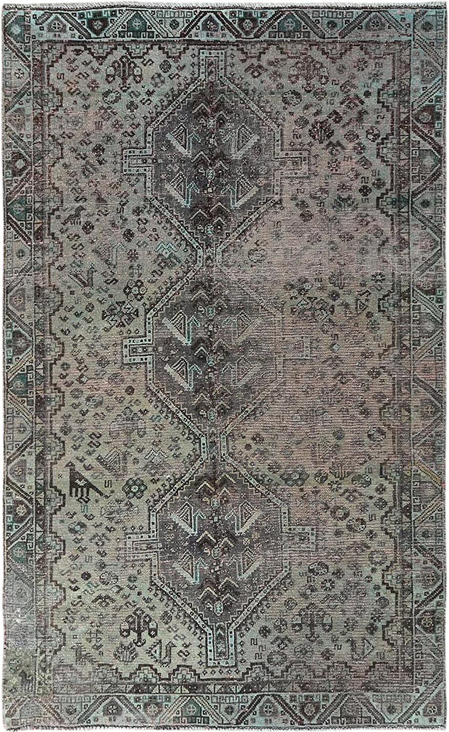 Shahbanu Rugs Semi Antique Spring new work one after another Gray Persian Virginia Beach Mall Worn Down Shiraz Kn Hand