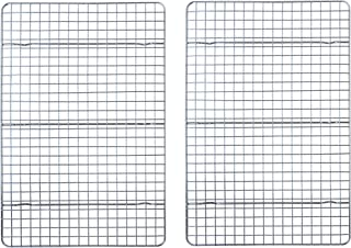 """Checkered Chef Cooling Rack - Set of 2 Stainless Steel, Oven Safe Grid Wire Racks for Cooking & Baking - 10"""" x 15"""""""