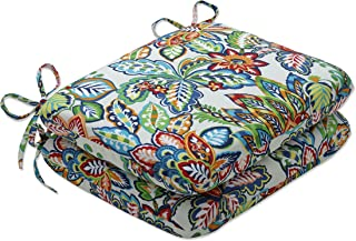 Pillow Perfect Outdoor | Indoor Copeland Fiesta Rounded Corner Seat Cushion (Set of 2), 15.5 X 18.5 X 3, Blue