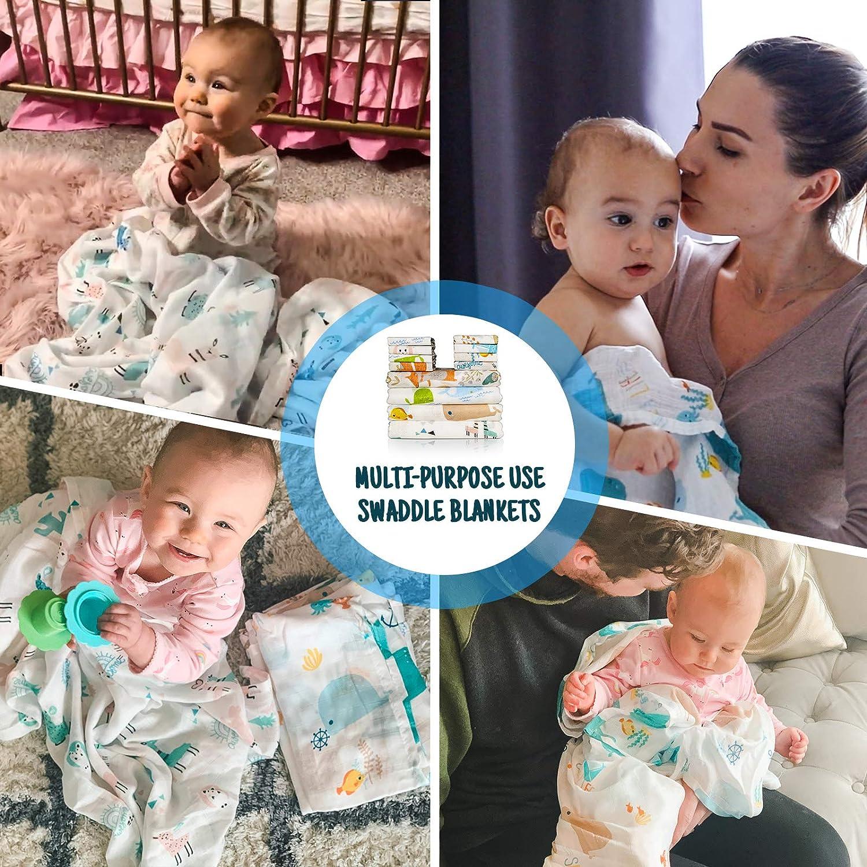 Babero para beb/é o arrullo 12 Piezas de Toalla Facial Infantil de bamb/ú y algod/ón Suave y Transpirable Toalla Multifuncional para beb/é Manta y Toalla de Muselina para beb/é