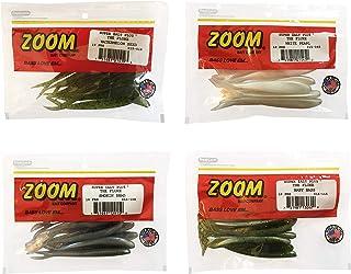"Bundle: Zoom Fluke Bait Lures - 4 1/4"" Watermelon Seed 10 Pack, 4 1/4"" White Pearl 10 Pack, 4 1/4"" Smokin Shadow 10 Pack a..."