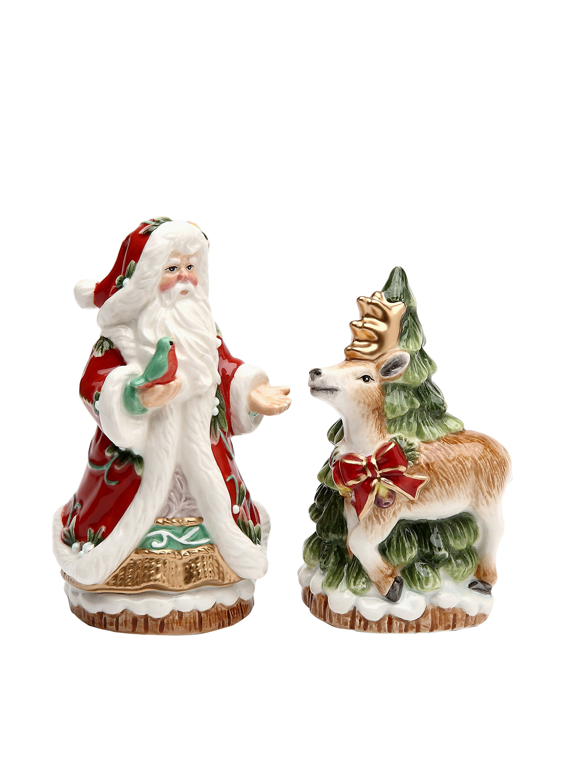 Image of Reindeer and Santa Claus Salt and Pepper Shakers