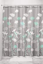 iDesign Daizy Fabric Shower Curtain for Master, Guest, Kids', College Dorm Bathroom, 72 x 72, Gray and Mint Green