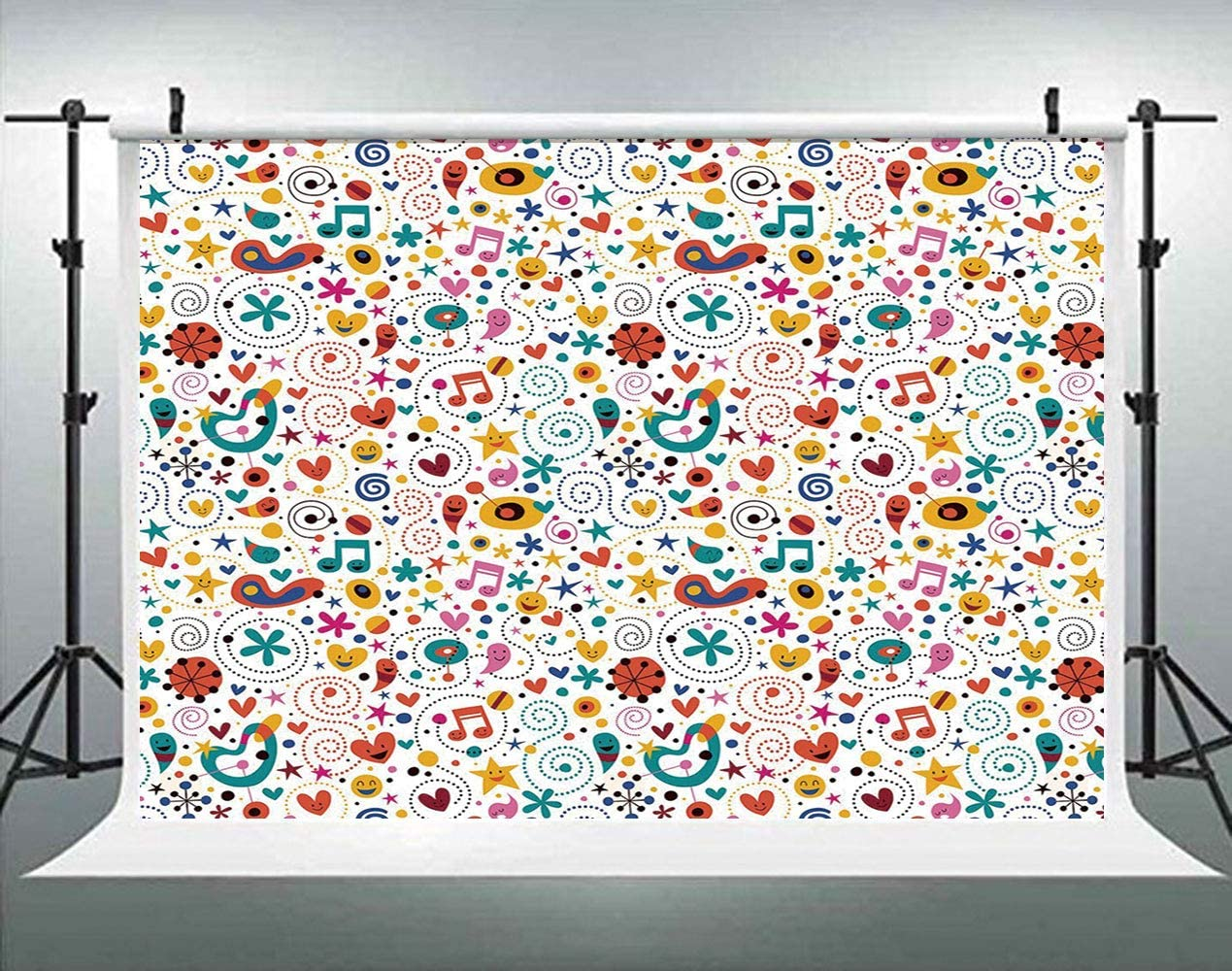 ALUONI 7x5ft Kids,Vintage Cars Collection in Vivid Colors with Little Hearts Backdrop for Photography Photo Background Props Photography AM019421