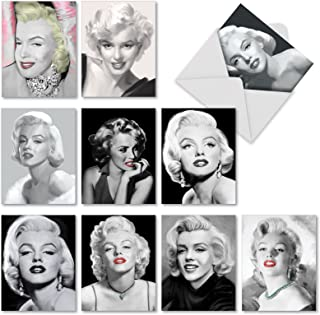10 Assorted 'Some Like It Hot' Thank You Greeting Cards with Envelopes 4 x 5.12 inch, All Occasion Cards with Glamour Shots of Marilyn Monroe, Stationery for Weddings, Birthdays, Holidays M2976