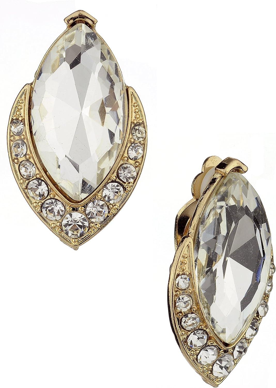 Women's Elegant Evening Gala Marquise Stone Mini Stud Clip On Earrings