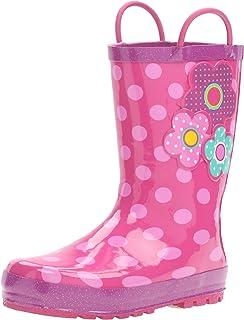 حذاء المطر المطبوع المقاوم للماء للفتيات من Western Chief مع مقابض سهلة السحب