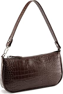 CHIC DIARY Damen Unterarm Tasche Schultertasche Vintage Mode Crocodile Muster PU Leder Achseltasche Handtasche