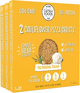 Cali'flour Foods Pizza Crust (Original Italian, 3 Boxes, 6 Crusts) - Fresh Cauliflower Base | Low Carb, High Protein, Gluten and Grain Free | Keto Friendly