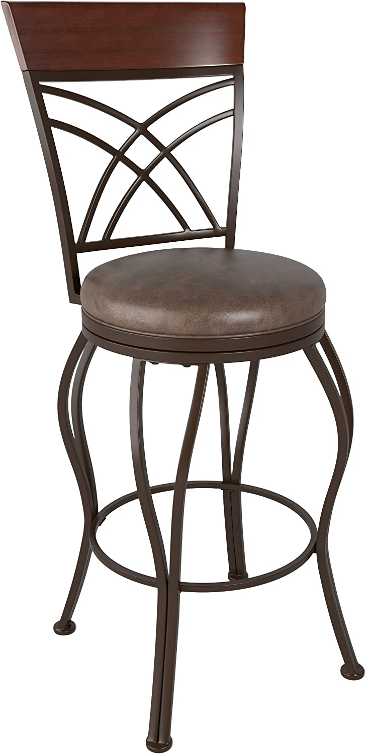 CorLiving DJS-323-B Jericho Metal Bar Height Barstool with Rustic Brown Bonded Leather Seat