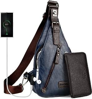 Sling Backpack Men Leather Chest Bag Crossbody Shoulder Bag For Men(blue)