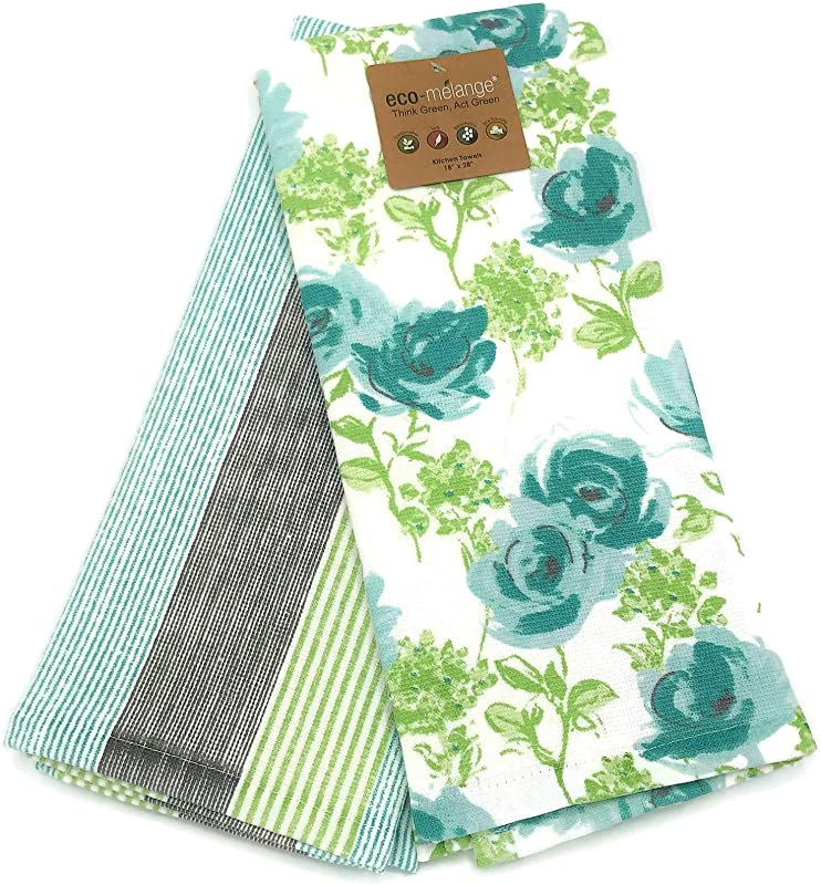 Eco Melange Aqua Teal Roses Striped Coordinating Eco Friendly Soft Cotton Kitchen Towel Set