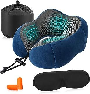 HOMFY Almohada cervical en forma de U, almohada ortopédica de espuma viscoelástica, almohada de viaje para coche, oficina y avión (azul)