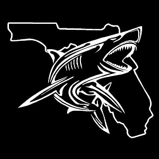 Dan's Decals Shark Florida Decal, Catching Sharks On The Beach (H 6 by L 6 Inches, White)