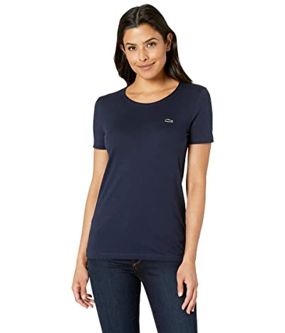 Lacoste Short Sleeve Classic Supple Jersey Crew Neck T-Shirt (Navy Blue) Women