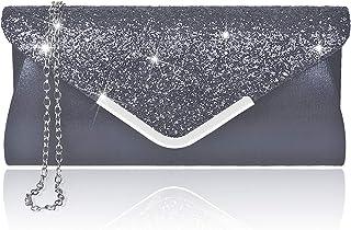 Larcenciel Damen Clutch Abendtasche Unterarmtasche Umhängetasche mit Strass-Steinen und abnehmbarer Kette in den Farben Si...