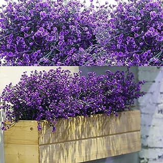 12 Bundles Artificial Shrubs Bushes Artificial Flowers Outdoor UV Resistant Plants Flowers Decorative Artificial Shrubs Bu...