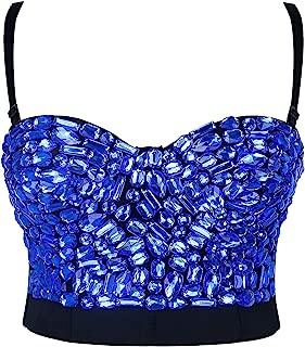 Women's Colorful Rhinestone Push Up Bra Clubwear Party Bustier Crop Top