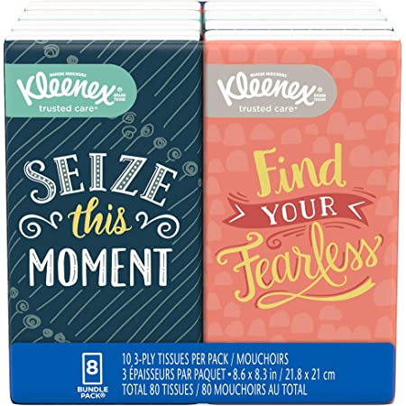 Kleenex Facial Tissues, On-The-Go Small Packs, Travel Size, 10 Tissues per Go Pack