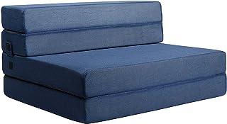 Milliard Tri-Fold Foam Folding Mattress and Sofa Bed for Guests (Twin XL) (Blue)