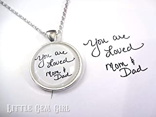 Handwriting Jewelry - Necklace made using your own handwriting or signature from loved one - 5 Colors Available - Also available as Key Chain - Single or Double Sided