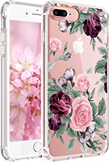JAHOLAN iPhone 7 Plus Case, iPhone 8 Plus Case Girl Floral Clear TPU Soft Slim Flexible Silicone Cover Phone Case for iPhone 7 Plus iPhone 8 Plus - Pink Purple Rose