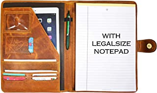 Leather Travel Portfolio | Professional Organizer Men & Women | Tablet Holder Leather Padfolio with Sleeves for documents and Ipad by Aaron Leather Goods (Cinnamon)