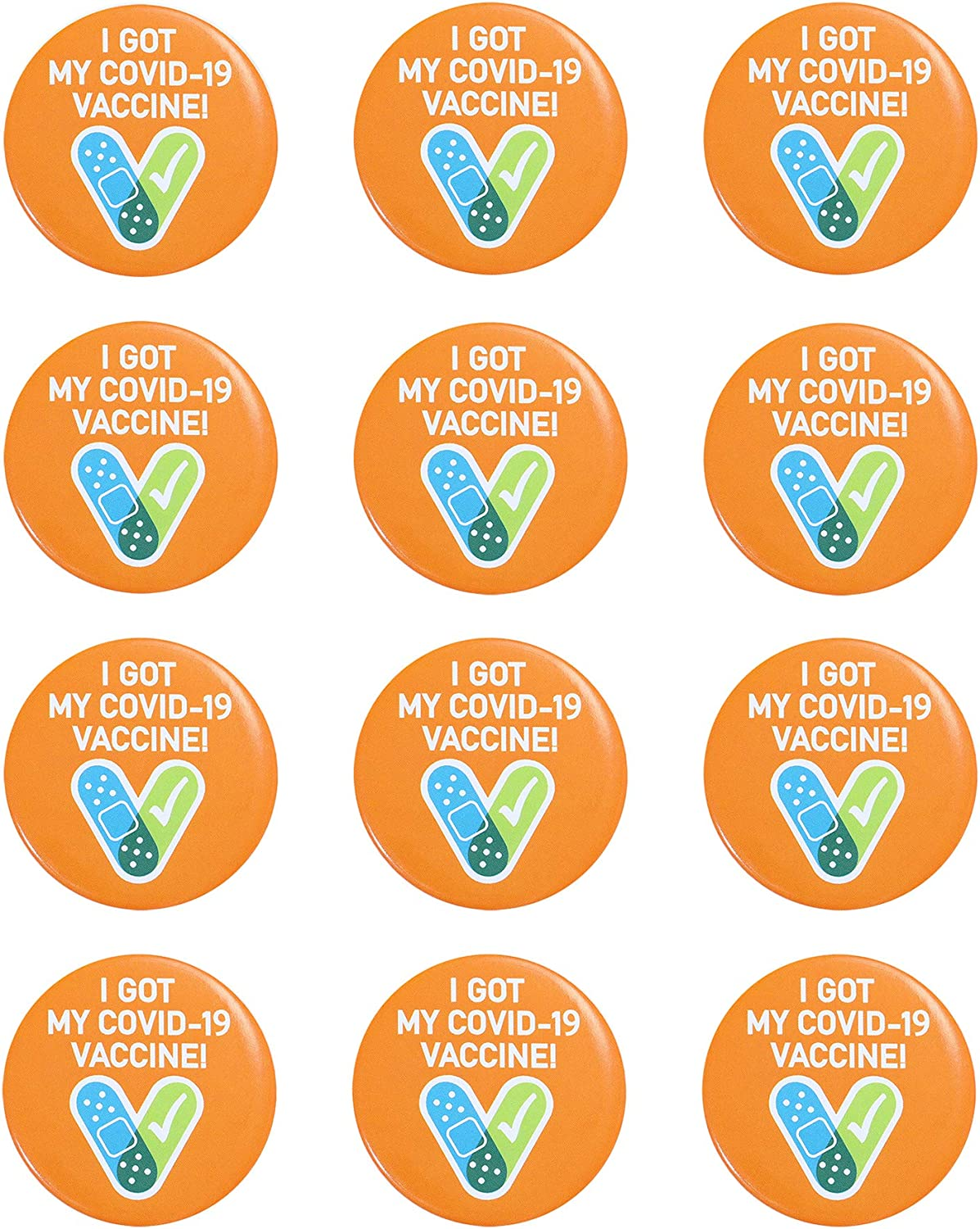 BESTARY 12Pcs I Got My Covid-19 Vaccine Pinback Buttons Pins Brooches for Women Men