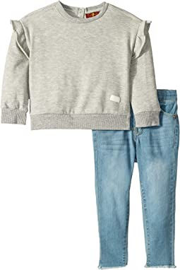 Two-Piece Set Heather Grey French Terry Pullover and Light Wash Denim Jeans (Toddler)