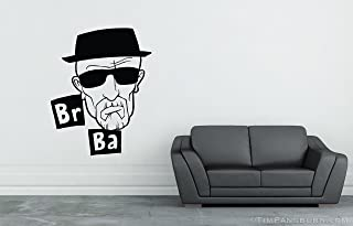 Breaking Bad Walter White Heisenberg Fan Inspired Vinyl 30 inch Wall Decal Home Decor Science Chemistry Organic Chemicals Drugs Br Ba Elements Periodic Table Sunglasses Beard Jesse