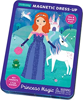 Mudpuppy Princess Magic Magnetic Dress-Up – Ages 4+ - Play Set with 4 Backgrounds, 40+ Magnets – Mix and Match to Dress Up Princesses – Great for Travel, Quiet Time – Magnets Adhere to Tin Package