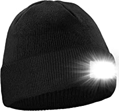 Hotdor LED Beanie Knit Cap Ultra Bright Hands Free Lighted Hat with Battery Powered Headlamp Safety Accessories for Sports Outdoors Activities Chores Winter Morning Night Warm Gifts for Thanksgiving