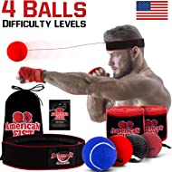 Boxing Reflex Ball Set, 4 Difficulty Level Training Balls On String, Punching Fight React Head...