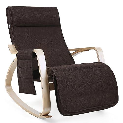 SONGMICS Fauteuil à Bascule Rocking Chair avec Repose-Pieds réglable à 5 Niveaux Design Charge Maximum 150 kg Lin Brun LYY12Z