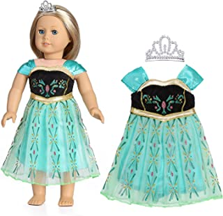 18 Inch Doll Clothes - Colorful Print Evening Dress with Embellished Crown, Fits American Girl Dolls