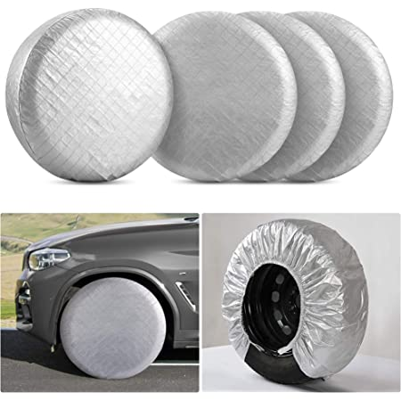 "Kohree RV Tire Wheel Covers Set of 4 for RV Trailer Camper Truck Auto, Waterproof Snow UV Sun Tire Protector for 30"" to 32"" Motorhome Wheel Diameters, Aluminum Film"