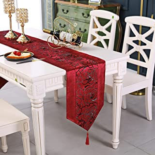 Western red Flower Embroidered Blue Velvet Table Runners Tapestry 72 inch Approx for Party and Wedding