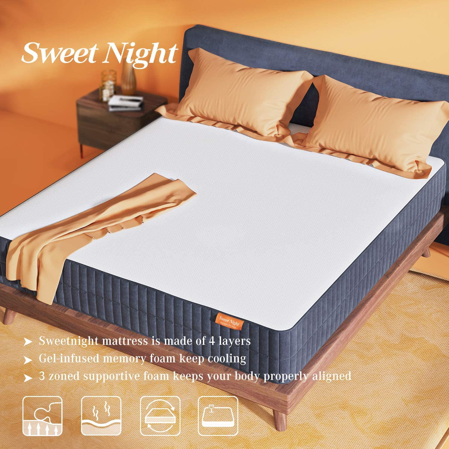 Flip Available for Soft or Medium Firm Option Full Size CertiPUR-US Certified Foam Mattresses for Sleep Cool /& Supportive Sweetnight 10 Inch Gel Memory Foam Mattress in a Box Full Size Mattress