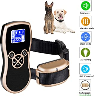 Newpets 450 Yards Remote Dog Training Collar (2018 Premium Version) Rechargeable Waterproof Dog Training Shock Collar with Beep/Vibration/Shock Electric Collar Dogs (1 Dog Collar)