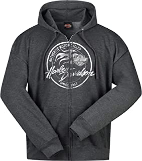 Military - Men's Charcoal Heather Hooded Zippered...